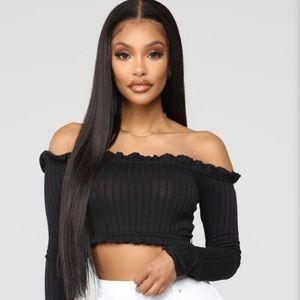 Fashion Nova black long sleeve crop top
